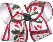 Large Candy Cane Print Christmas Bow