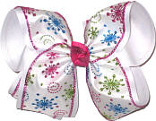 MEGA White and Multicolor Glitter Snowflakes Christmas Bow