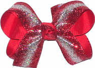 Medium Red with Red and Silver Glitter Holiday Bow