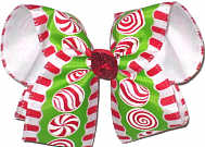 Large Peppermint Candy over White Double Layer Overlay Bow