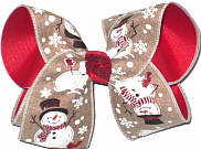 Large Snowmen on Khaki Canvas over Red Double Layer Overlay Bow