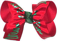 Medium Red Satin with Metallic Green Christmas Trees over Red Double Layer Overlay Bow