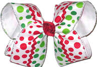 Large Large Christmas with Red and Green Dots and Red Rick Rack Double Layer Overlay Bow