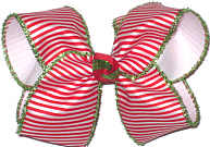 Large Large Christmas with Red and White Stripe and Green Tinsel Edge over White Double Layer Overlay Bow