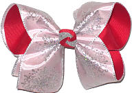 Large Large Christmas White Satin with Silver Glitter Snowflakes over Red Double Layer Overlay Bow