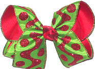 Large Large Christmas with Red Glitter Dots and Wave on Green over Red Double Layer Overlay Bow