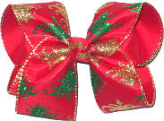 Large Green and Gold Glittter Christmas Trees on Red over Red Double Layer Overlay Bow