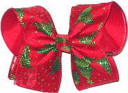 Large Green Glitter Christmas Trees and Green Glitter Dots on Red over Red Double Layer Overlay Bow