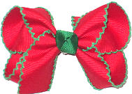 Medium Red with Green Moonstitch Double Layer Overlay Bow