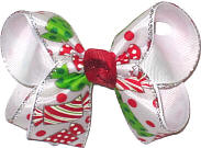 Medium Red and Green Christmas Candies with Silver Edge over White Double Layer Overlay Bow