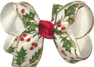 Medium Holly and Berries with Gold Outline on Light Ivory over Light Ivory Double Layer Overlay Bow