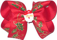 Medium Holly with Gold Glitter Outline on Red with Santa Face Miniature Double Layer Overlay Bow