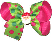 Medium Apple Green with Shocking Pink and Green Dots over Shocking Pink with Santa Face Miniature Double Layer Overlay Bow