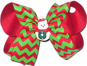 Medium Red and Green Chevron over Red with Snowman Miniature Double Layer Overlay Bow