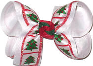 Medium Christmas Trees over White Double Layer Overlay Bow