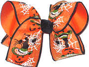 Large Jack-O-Lantern Witches Hat and Spiders Large Halloween Bow Double Layer Overlay Bow
