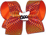 Large Large Halloween with Ghost Center Pin Double Layer Overlay Bow