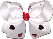 Large Jeweled Bow with Red Heart Jewels and Swarovski Crystals