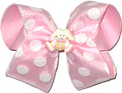 Large Easter Bow with White Glitter Dots and Bunny Miniature
