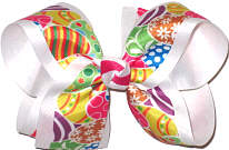 Large Easter Bow with Colorful Easter Egg Print over White Grosgrain