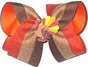 Large Thanksgiving Bow with Turgey Miniature Double Layer Overlay Bow