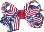 Small Looped Bow with Fine Print Flag Ribbon