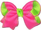 Shocking Pink and Lypple Saddle Stitch Toddler Hair Bow