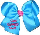 Mystic Blue and Shocking Pink Medium Bow Monogrammed Triple Initial Hair Bow