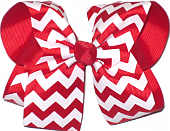 Large Hair Bow Red and White Chevron Stripes