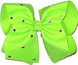 Mega Neon Lime with Rhinestones Jeweled Bow