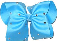 Mega Mystic Blue with Rhinestones Jeweled Bow