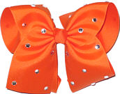 Mega Orange with Rhinestones Jeweled Bow