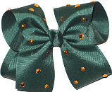 Mega Evergreen with Amber Rhinestones Jeweled Bow