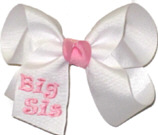 Medium White and Pink Monogrammed ''Big Sis'' Bow Monogram Design