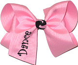 Large Pink and Black Monogrammed ''Dance'' Bow Monogram Design