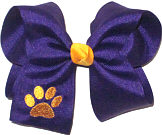 Large Regal Purple with Yellow Gold Monogrammed Paw Bow Monogram Design