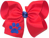 Large Red with Electric Blue Monogrammed Paw Bow Monogram Design