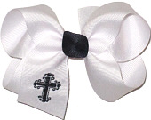 Medium Fancy Navy Cross Monogram on White with Navy Knot