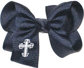 Medium Fancy White Cross Monogram on Navy