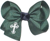 Medium Fancy White Cross Monogram on Evergreen with Navy Knot