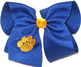 MEGA Century Blue with Monogrammed Yellow Gold Paw Double Layer Overlay Bow