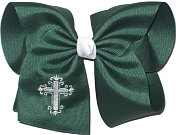 MEGA Fancy White Cross Monogram on Forest Green