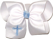 MEGA 312 Blue Fancy Cross on White Bow