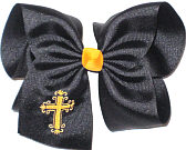 MEGA Yellow Gold Fancy Cross on Black Bow