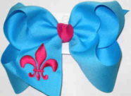 Island Blue and Shocking Pink Fleur de Lis