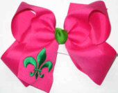 Shocking Pink and Apple Green Fleur de Lis