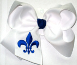 White and Electric Blue Fleur de Lis
