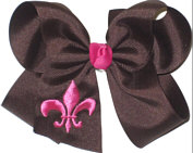 Brown and Shocking Pink Fleur de Lis