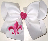 White and Shocking Pink Fleur de Lis