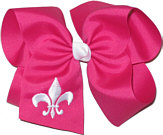 Shocking Pink and White Fleur de Lis